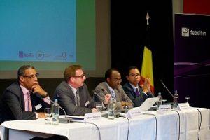 de gauche à droite : Lhassan Benhalima, Eric Prud'homme, Pierre Claver Damiba et Michel Losembe.